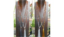 3color tassels necklace pendant rudraksha with agate bead stone bali