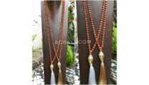 buddha head full rudraksha bead wood necklaces tassel pendant