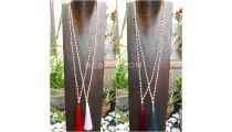 wood beige natural bead tassels necklace 4color ethnic design
