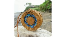 blue fabric rattan round circles sling bags motif handwoven