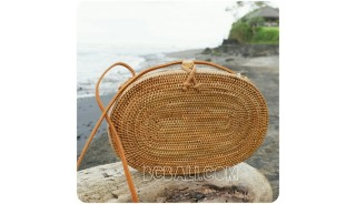 oval sling bags full handwoven natural rattan straw