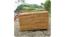 sequare sling cosmetic large bags rattan straw handmade