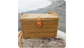 sling women cosmetic bags rattan sequare full handwoven classic design