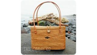 unique women handbag rattan ata oval handwoven full handmade