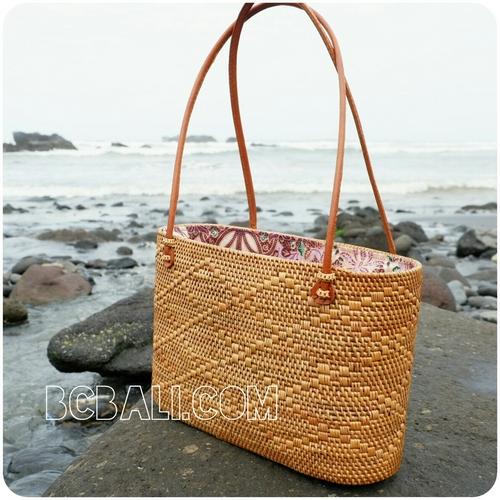 Women Ping Handbags Rattan Full Motif Handmade From Bali