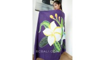 rayon sarongs hand painting flower purple color made in bali