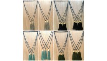 free shipping fashion necklace tassels golden bronze caps handmade bali
