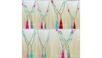 mixed beads necklace colorful tassels fashion design bulk free shipping