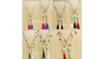 turquoise stone tassel bead cowrie shells necklaces wholesale 50 pieces