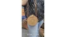 hand woven ata grass circle bag long handle leather rattan strep