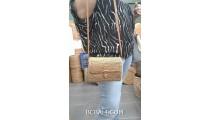 natural ata grass hand woven bags purses women style handmade