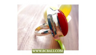 Finger Rings Alpaka Silver Bali with Red Stone