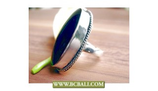 Finger Rings Alpaka Silver Bali with Black Stone