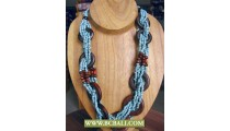 Blue Beaded wrap Wooden Necklaces