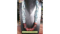 Mix Beading Fashion Necklace with Wooden rings