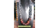 Fashion Necklace mix Beading with Wooden Rings