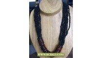 Black Beaded combain Wooden Rings Fashion Necklace