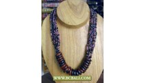 Fashion Beaded coloring Necklace with Rings Wooden