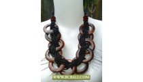 Beads Necklaces Black with Wooden