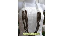 White Bead mix Woods Long Necklace