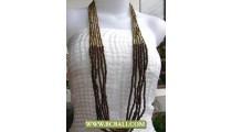 Golden Beads and Wooden Long Necklace Fashion