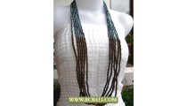 Paua Beaded and Wooden Long Necklace Fashion