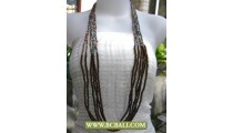 Mix Beading and Wooden Necklace Long Fashion