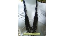 Layered Necklace Black Beaded Fashion