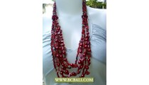 Red Bead Fashion Necklace Layer