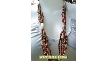 Long Necklace Beaded with Chain