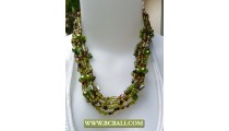 Mix Beading wrap Necklaces combain with Green Pearl and Shells