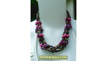 Mix Squins wrap Fashion Necklace combain Pink Pearl and Shells
