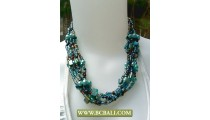 Beading wrap Necklace combain Blue Pearl and Shells