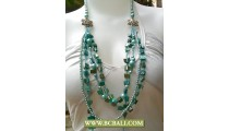 Blue Beads Fashion Necklace Multi Strand