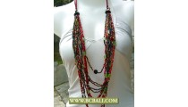 Bali Bead Glass Layered Necklace