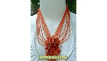 Orange Beaded and Stones Necklaces Fashion Chockers
