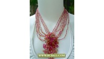 Mix Beading Chockers Necklaces Fashion with Pink Stones