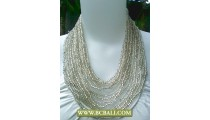 Silver Beading Multi Strand Necklace