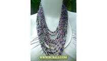 Necklace Beaded Coloring Multi Strand
