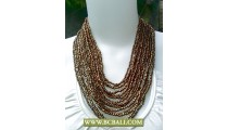 Golden Multi Strand Squins Necklace Fashion with Buckle