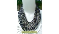 Mix Beaded Multi Strand Fashion Necklace with Buckle