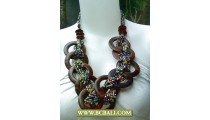 Mix Colors Beads Necklaces with Woods