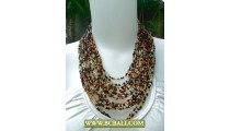 Multi Strand Beaded coloring Necklace with Buckle