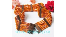 Belt Wood Beads Stretch Wooden Clasps