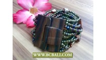 Abalone Color Beads Wood Clasps Antiq