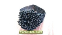 Bali Beaded Glass Flowers Wristband Bracelets