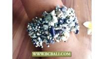 Beads stone Bracelets Multi Color Stretch