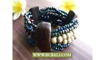 Beads Wood Stretch Bracelet Ethnic Design