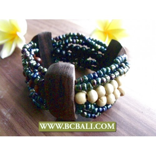 beads wood stretch bracelet ethnic design beads wood