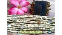 Beige Color Bead Buckle Wooden Bracelets